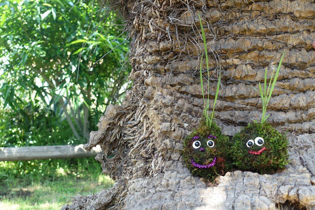 芝生の上で、田植えを楽しむ。